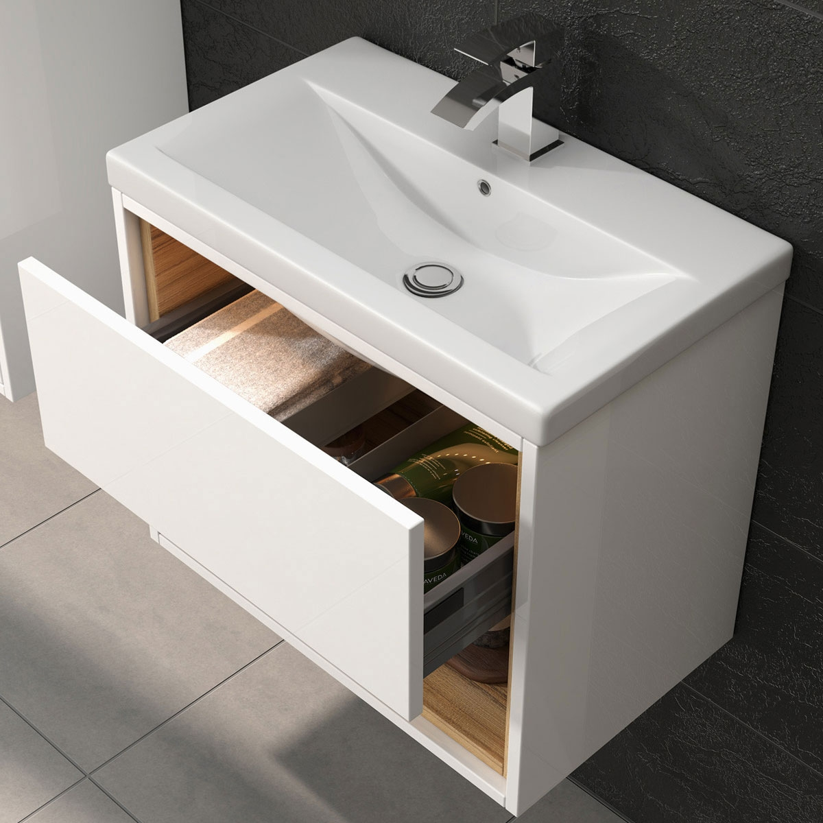 Hudson Reed Coast Wall Mounted Vanity Unit with Basin 2 White Gloss - 500mm Wide