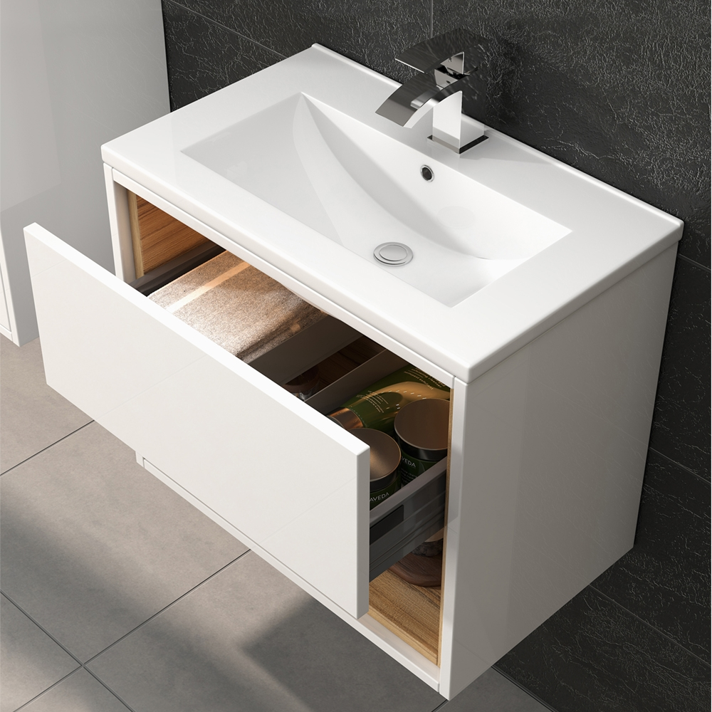 Hudson Reed Coast 2 Wall Hung Vanity Unit and Minimalist Basin 600mm Wide White 1 Tap Hole