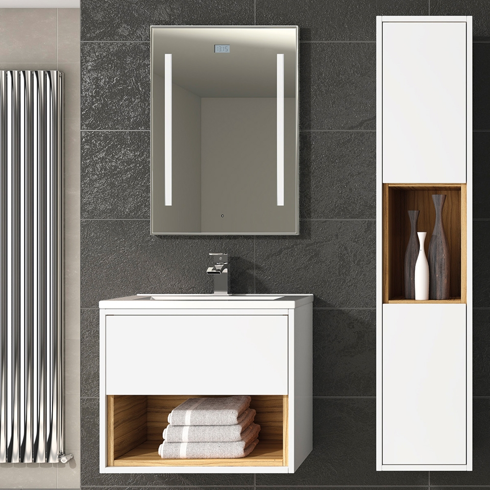 Hudson Reed Coast 1 Wall Hung Vanity Unit and Mid-Edged Basin 600mm Wide White 1 Tap Hole