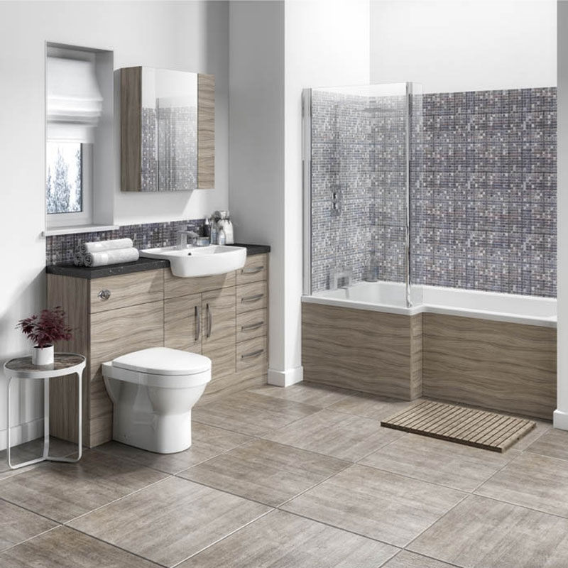 Hudson Reed Compact Fitted Vanity Unit 400mm Wide - Driftwood