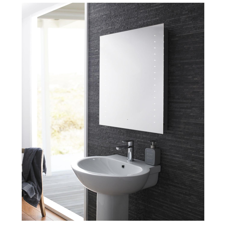 Hudson Reed Corona LED Bathroom Mirror 800mm H x 600mm W - Chrome