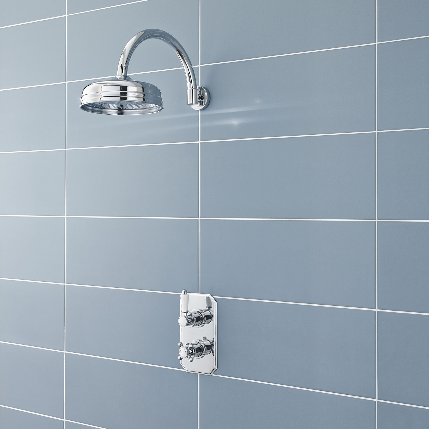Hudson Reed Curved Wall Mounted Shower Arm, 315mm Length, Chrome-0