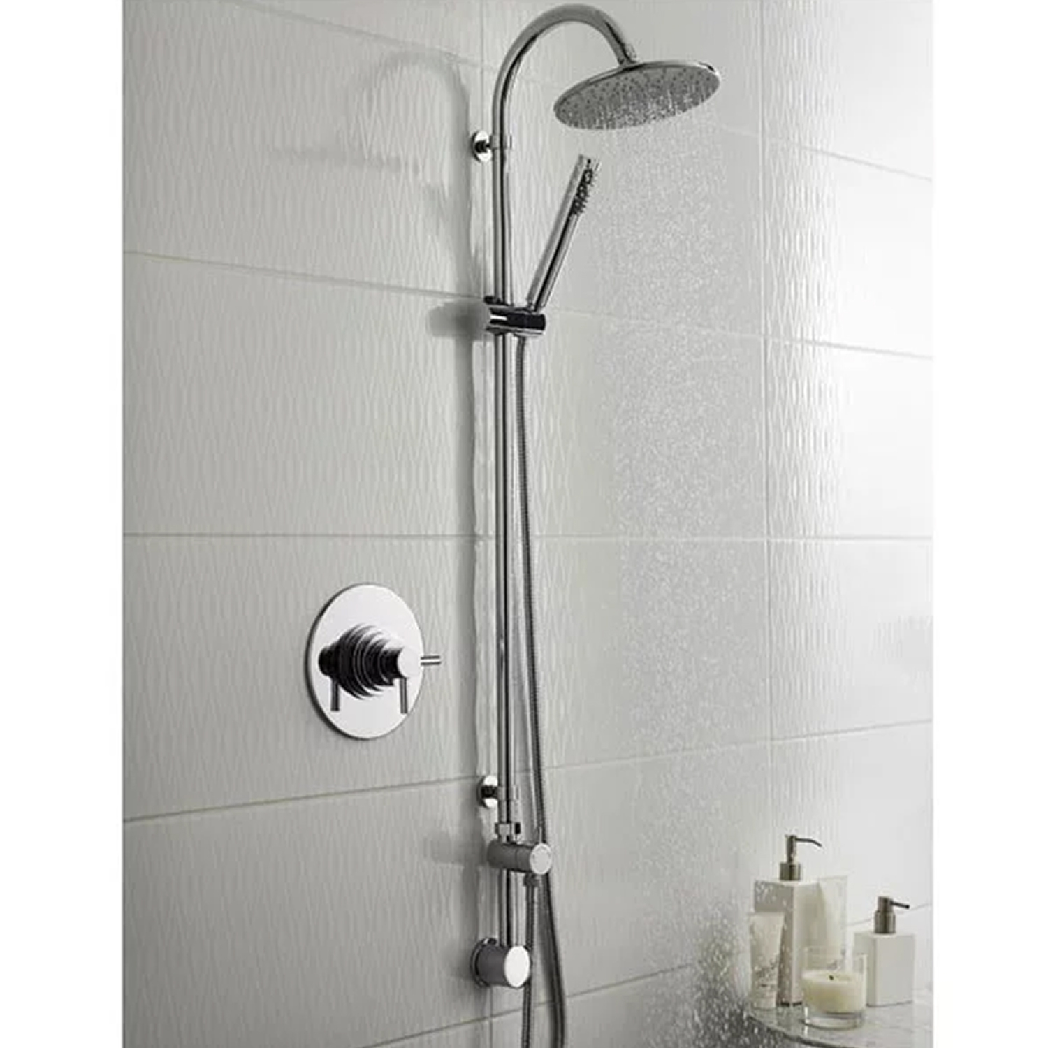 Hudson Reed Destiny Shower Kit with In-Built Shower Valve and Diverter, Pencil Handset and Fixed Head, Chrome-1