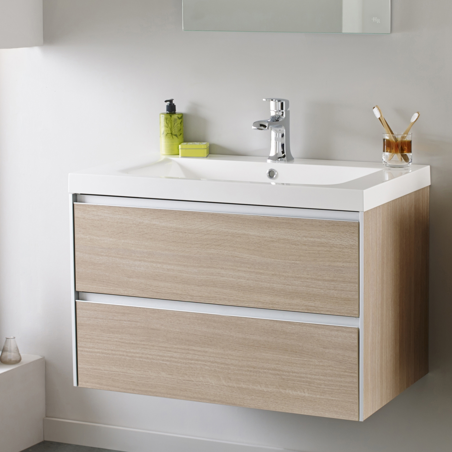 Hudson Reed Erin Wall Mounted Basin and Cabinet, 800mm Wide, Light Oak