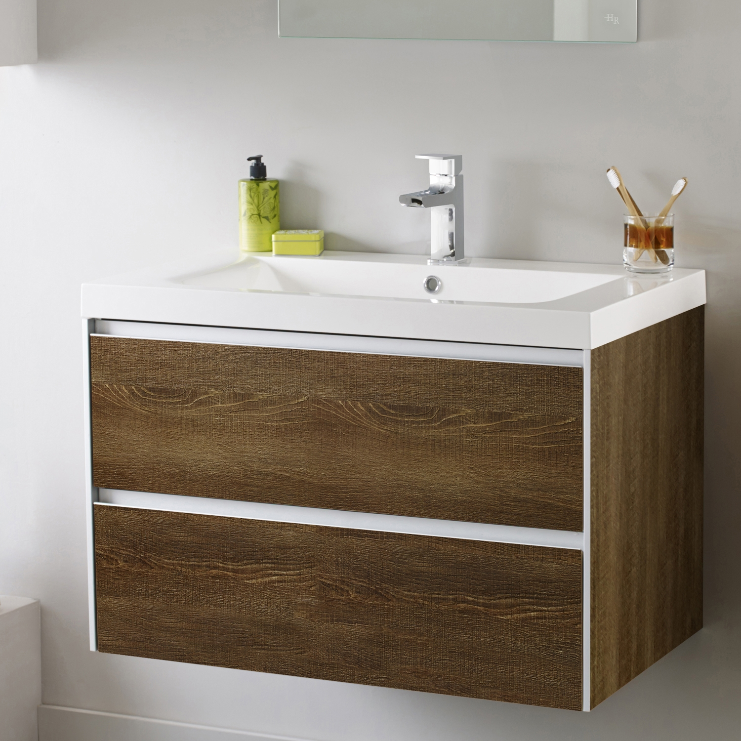 Hudson Reed Erin Wall Mounted Basin and Cabinet, 800mm Wide, Textured Oak