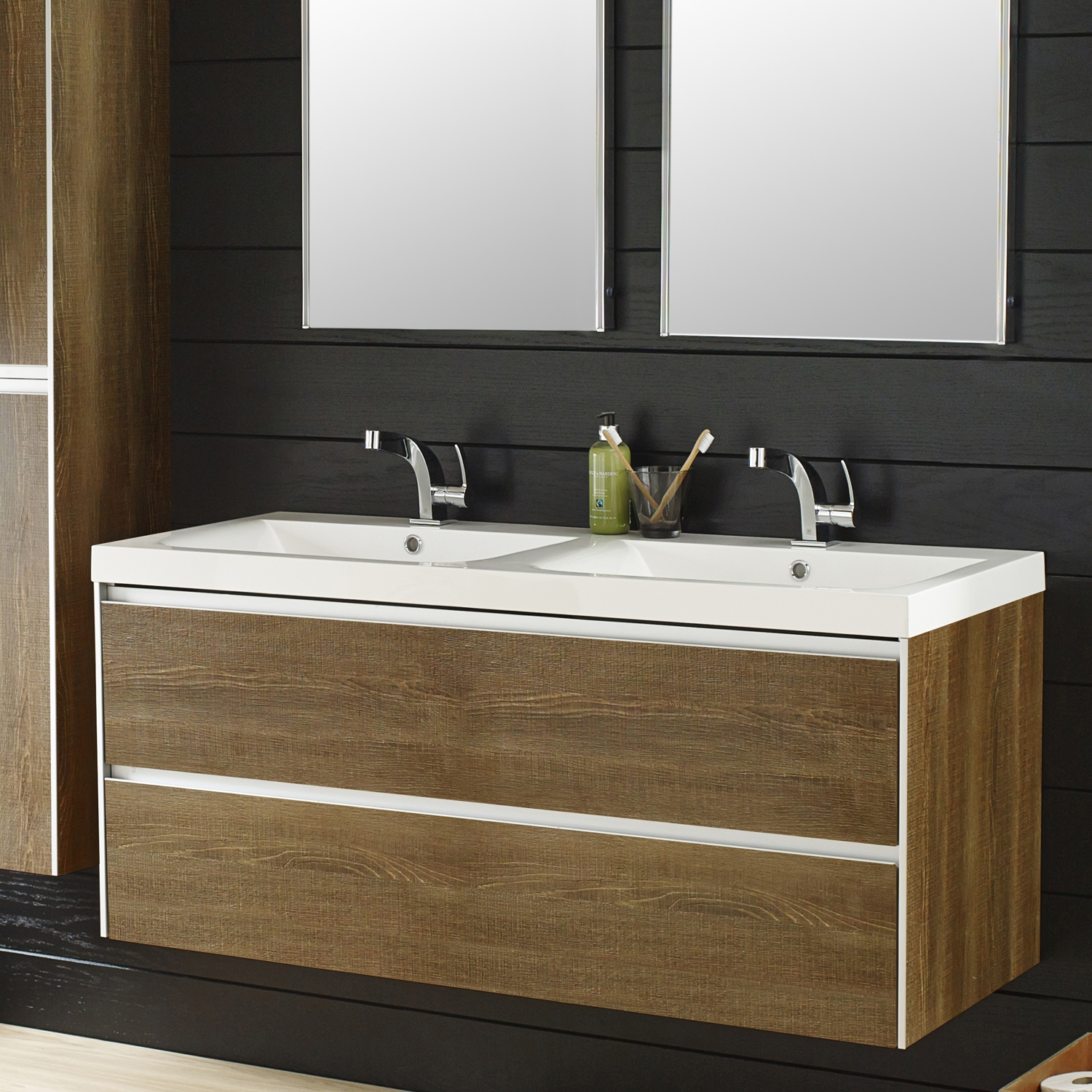 Hudson Reed Erin Wall Mounted Basin and Cabinet, 1200mm Wide, Textured Oak