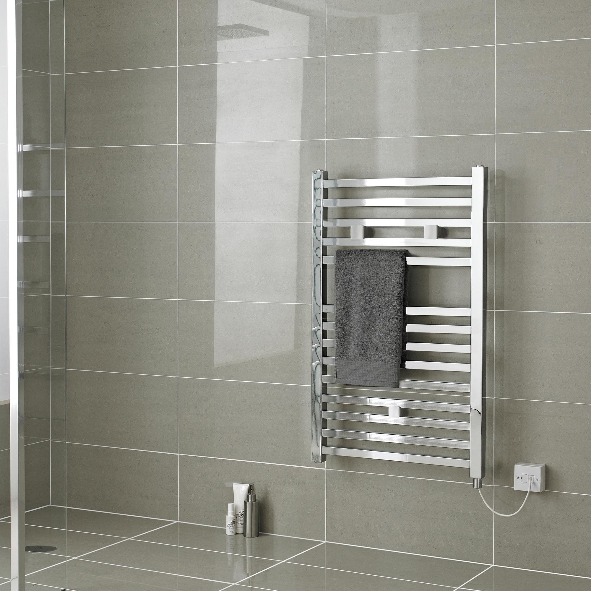 Hudson Reed Eton Electric Heated Towel Rail 690mm H x 500mm W - Chrome
