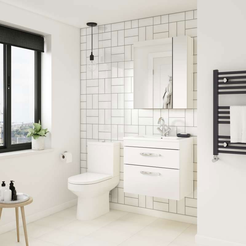 Hudson Reed Fusion Mirror Unit (75/25) 600mm Wide - Gloss White