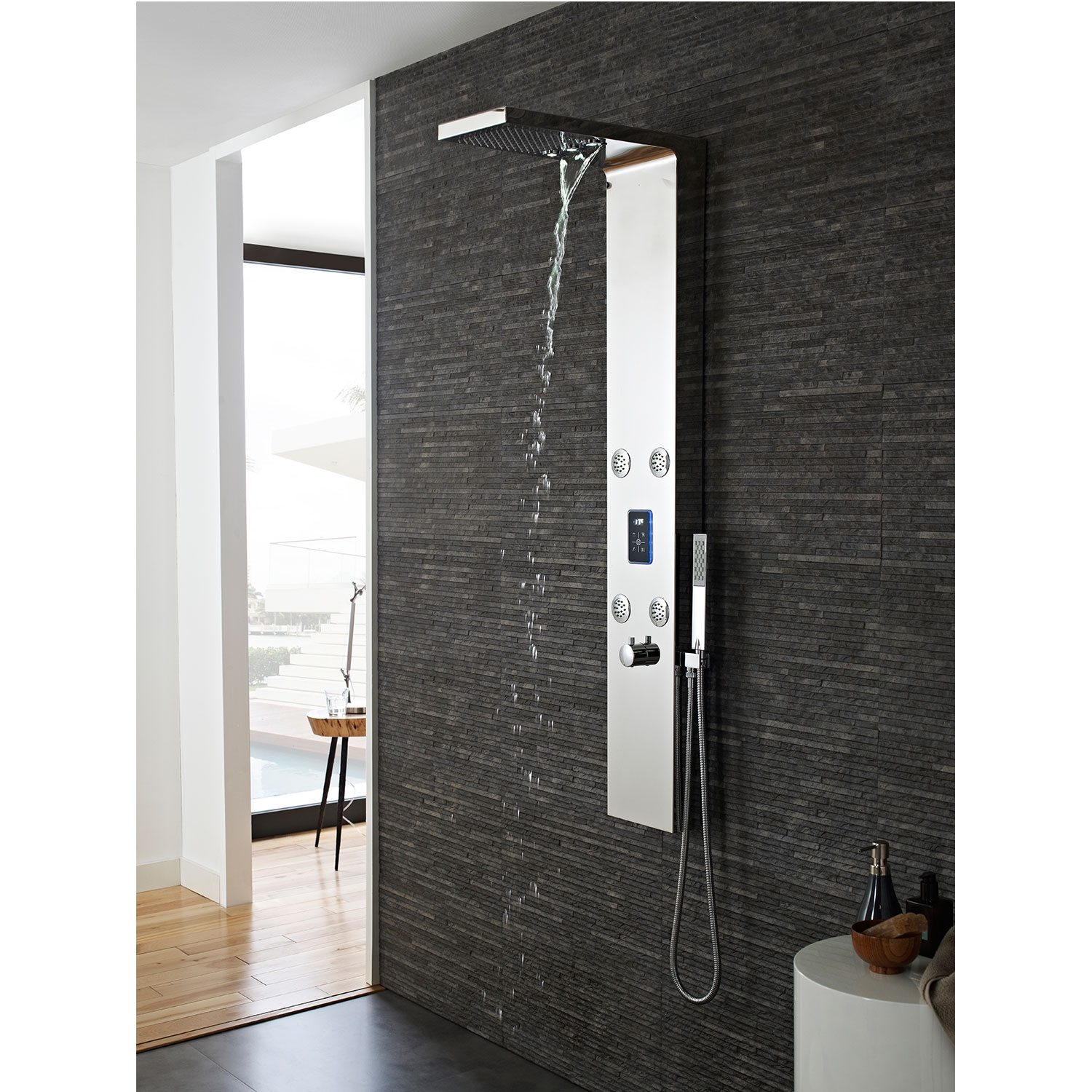 Hudson Reed Genie LED Thermostatic Shower Tower Panel 4 Round Body Jets - Chrome-0