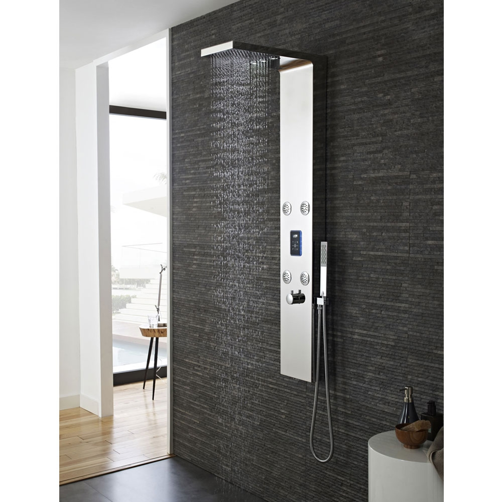Hudson Reed Genie LED Thermostatic Shower Tower Panel 4 Round Body Jets - Chrome