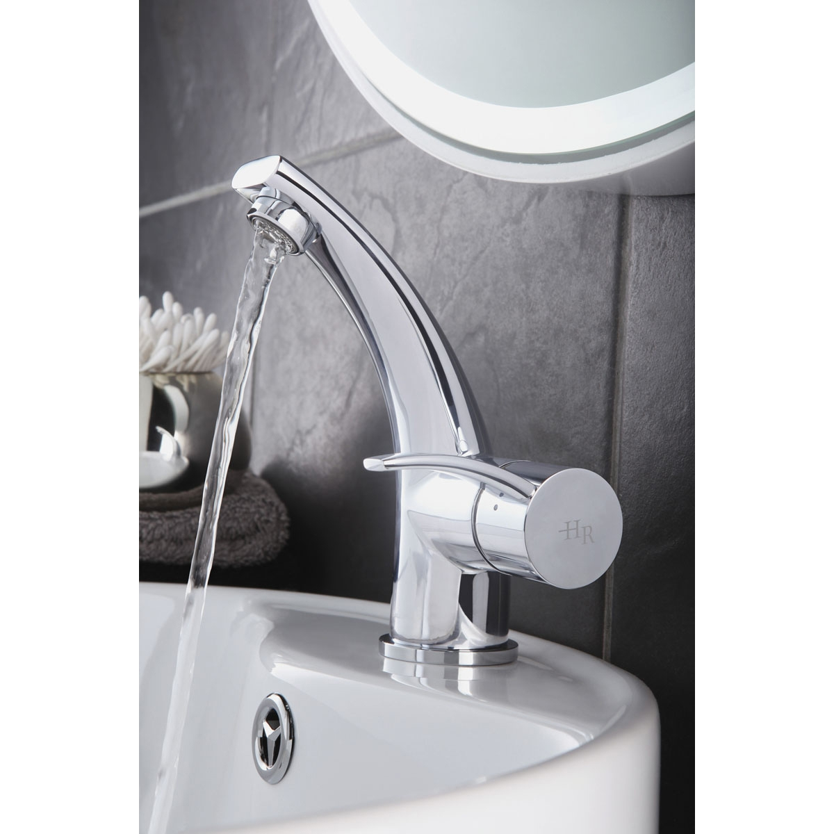 Hudson Reed Grace Mono Basin Mixer Tap Single Handle with Push Button Waste - Chrome