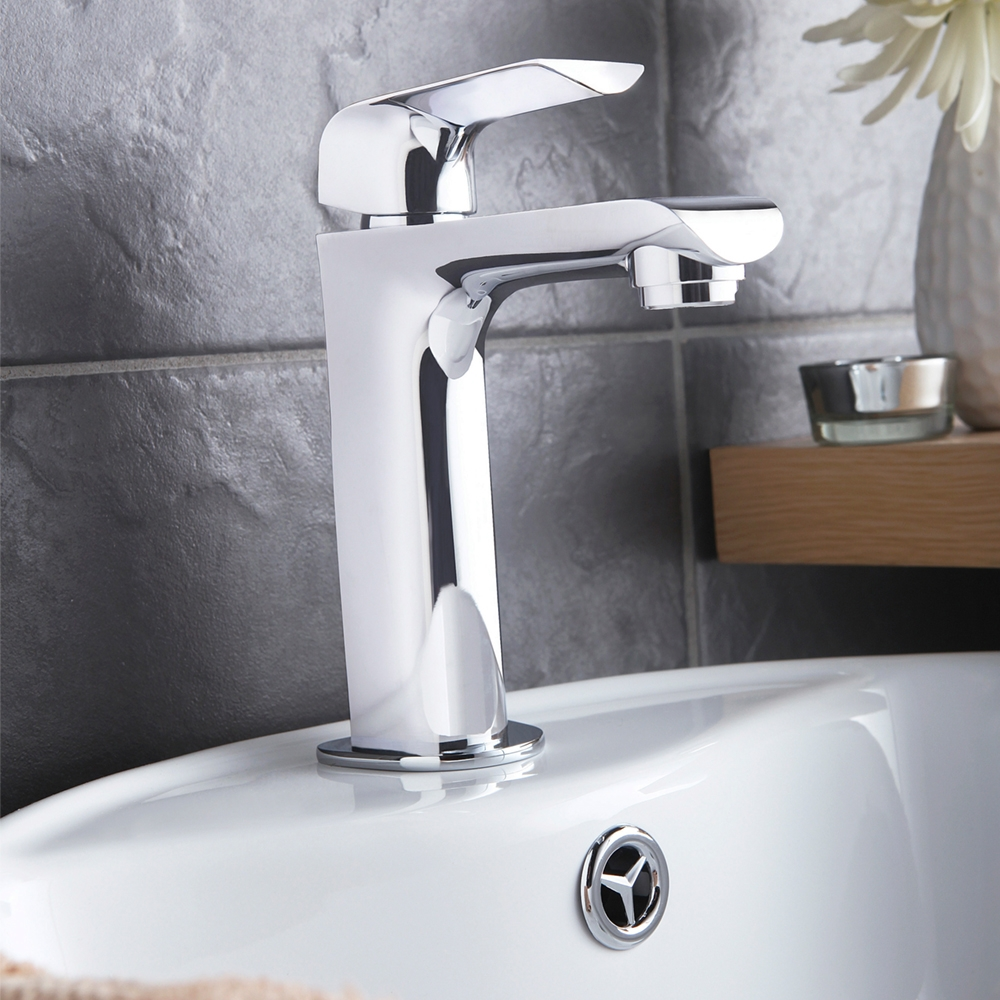 Hudson Reed Hero Mono Basin Mixer Tap Single Handle with Push Button Waste - Chrome-0
