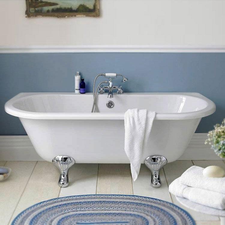 Hudson Reed Kenton Back to Wall Freestanding Bath 1700mm x 750mm - Pride Legs