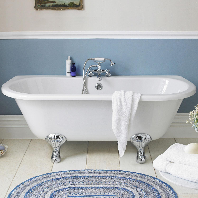 Hudson Reed Kenton Back to Wall Freestanding Bath 1700mm x 750mm - Corbel Legs