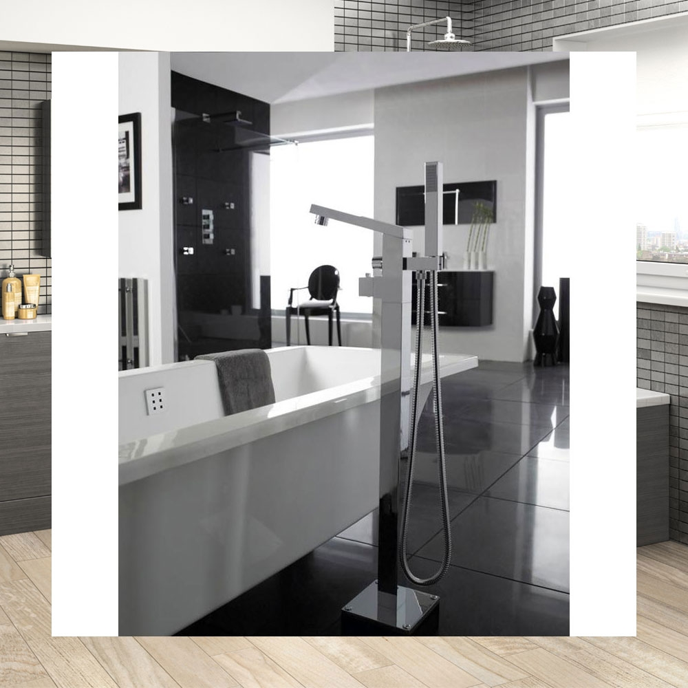Hudson Reed Kubix Bath Shower Mixer Tap Floor Mounted - Chrome