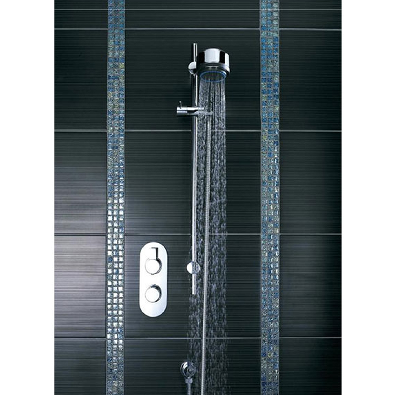 Hudson Reed Linear Slider Shower Rail Kit, Three Function Handset, Chrome-0