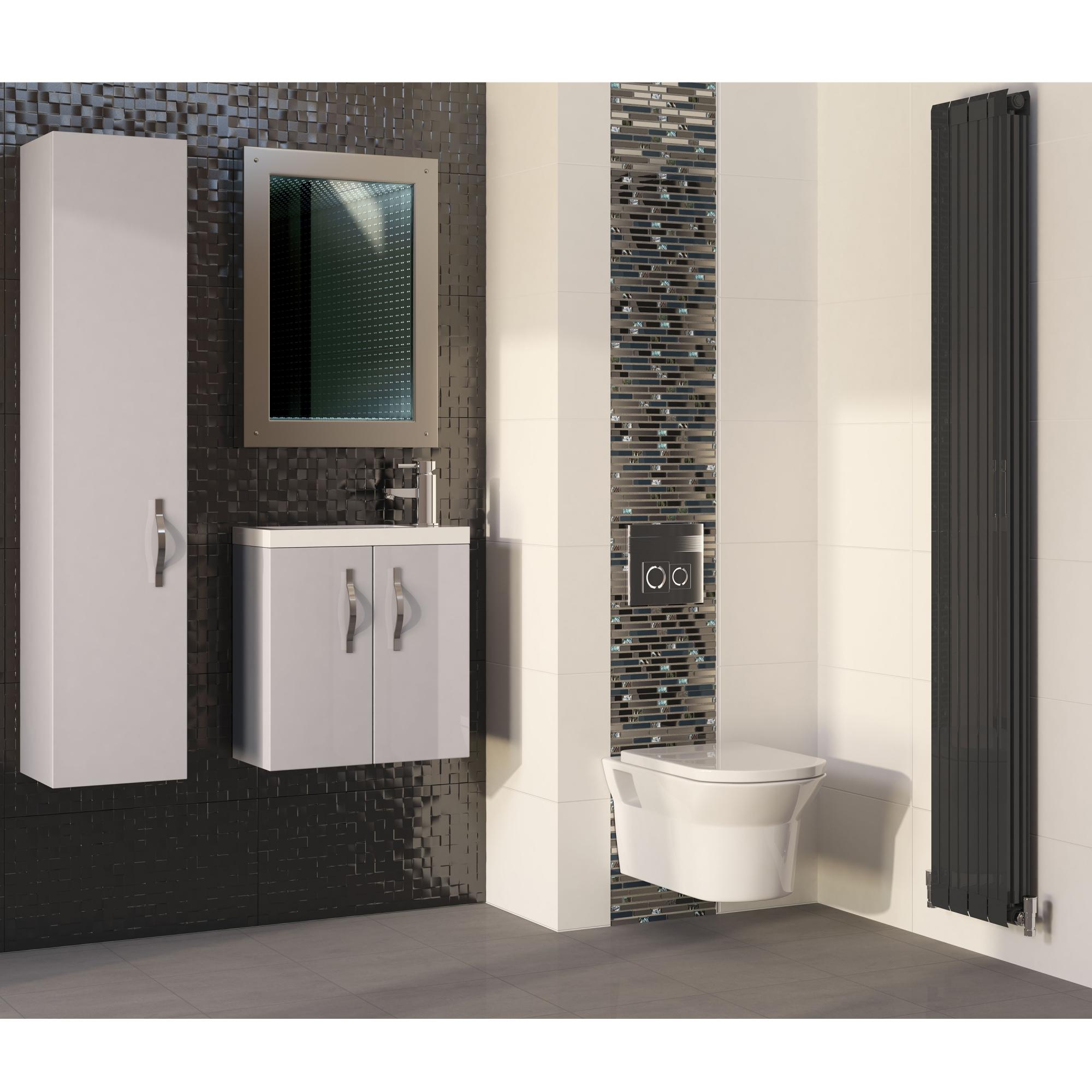 Hudson Reed Lucio Infinity Bathroom Mirror 800mm H x 600mm W - Silver-0