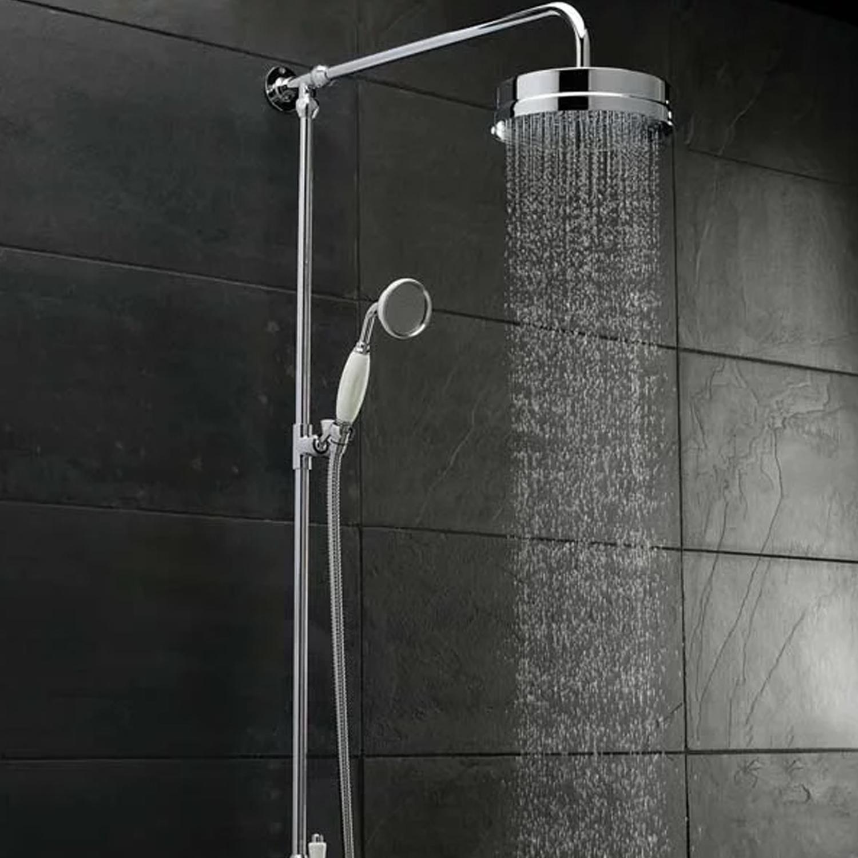 Hudson Reed Luxury Shower Riser Kit, Large Fixed Shower Head, Chrome-0