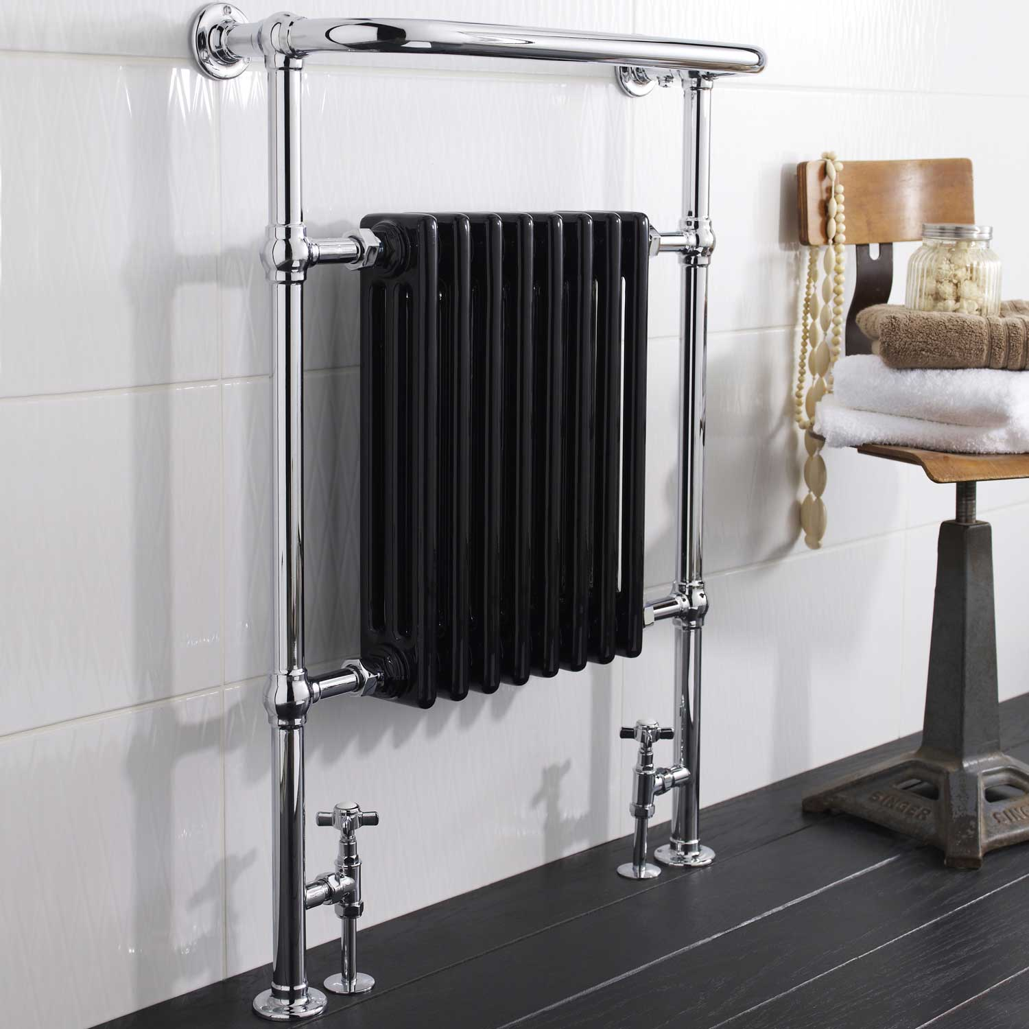 Hudson Reed Marquis Radiator Heated Towel Rail 960mm H x 675mm W Chrome/Black
