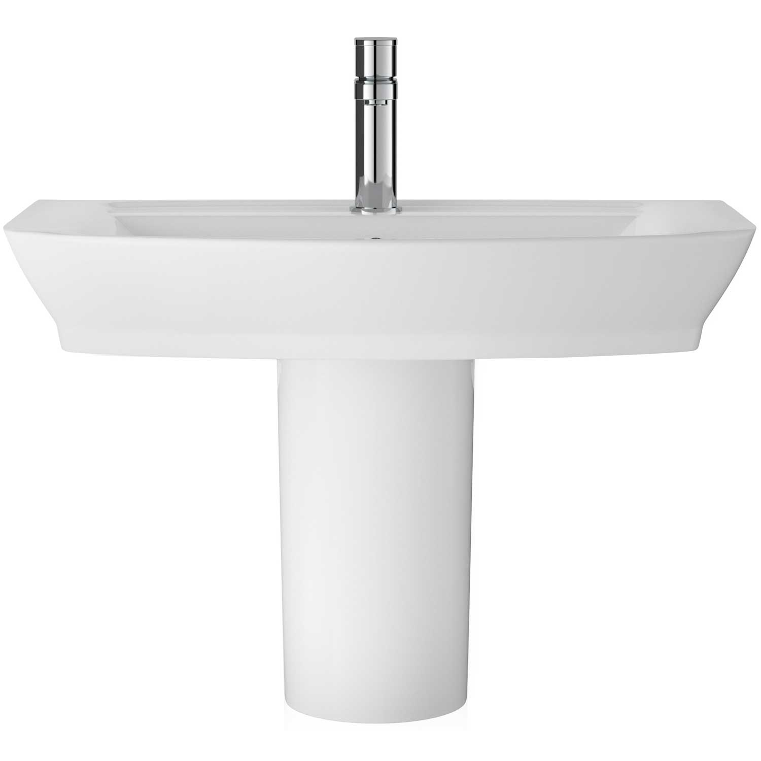 Hudson Reed Maya Basin with Semi Pedestal 550mm Wide - 1 Tap Hole