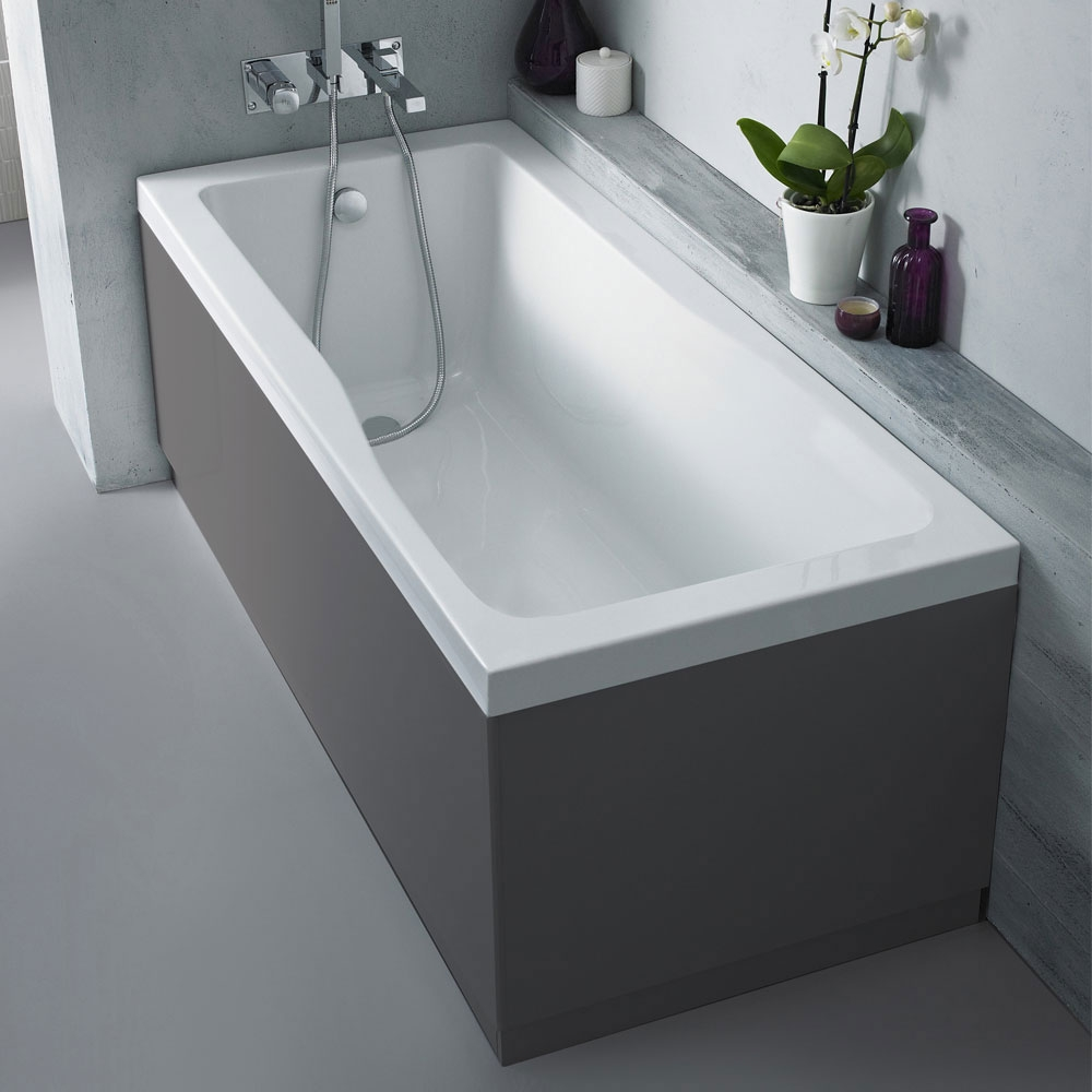 Hudson Reed MDF Straight Front Bath Panel and Plinth 1700mm Wide - Gloss Grey