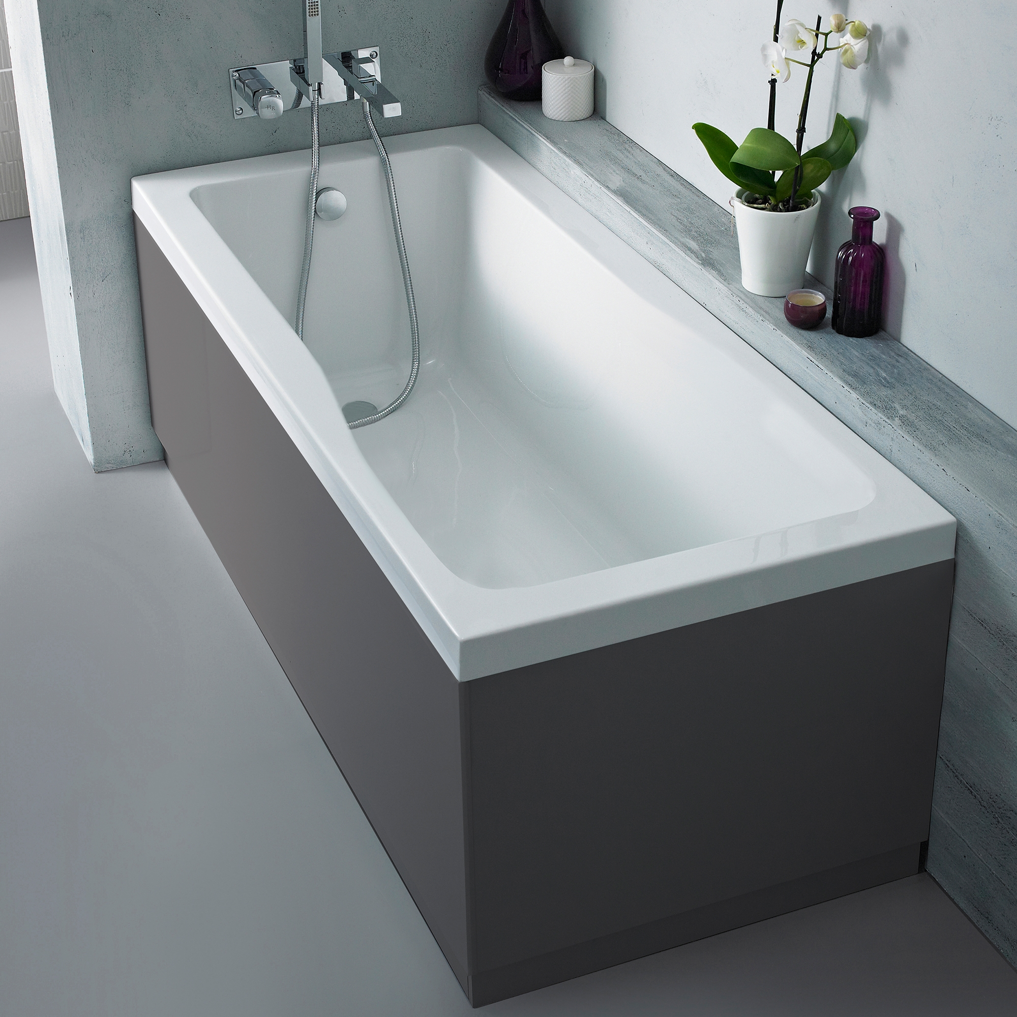 Hudson Reed MDF Bath Front Panel 1700mm Wide High Gloss Grey-1