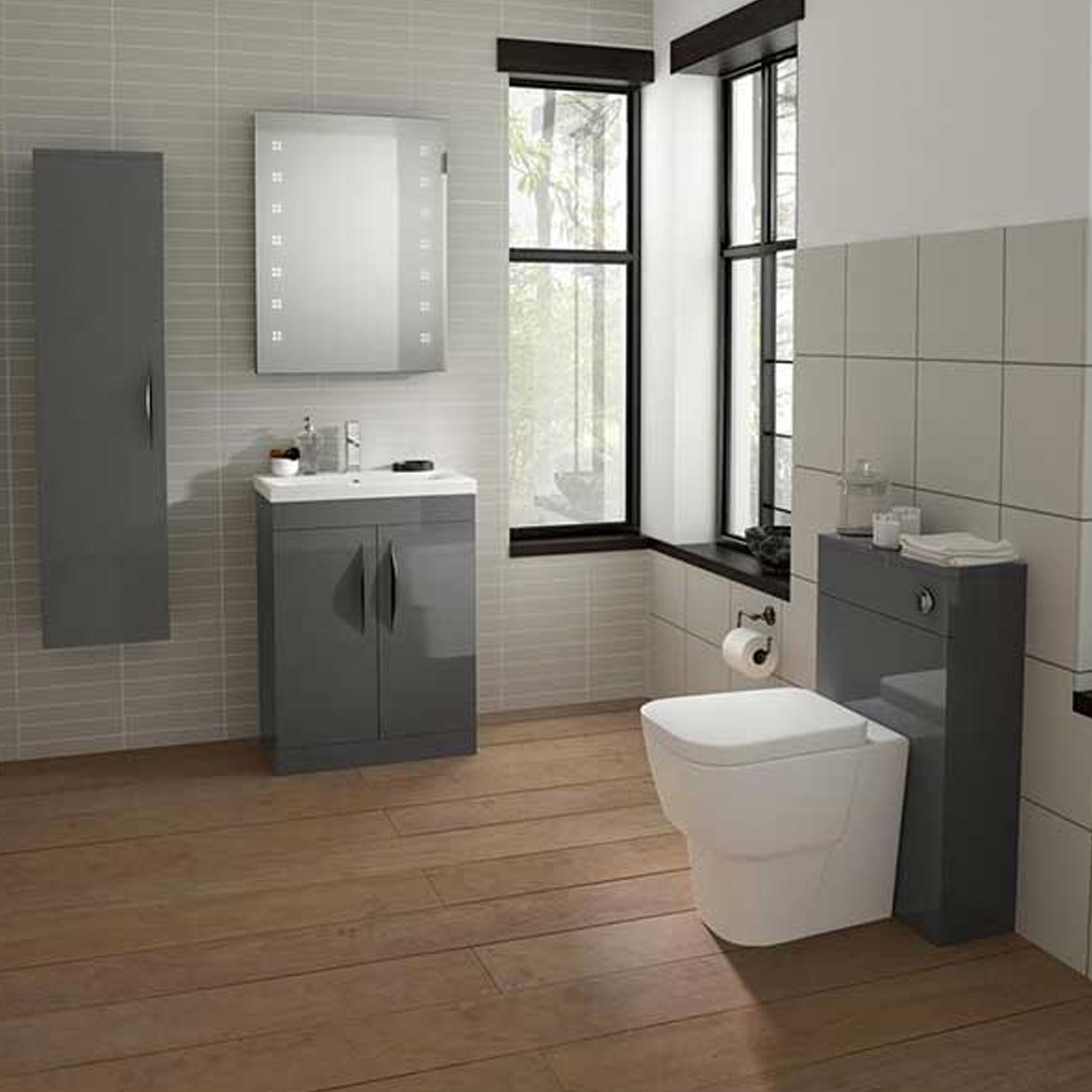 Hudson Reed Memoir WC Toilet Unit, 500mm Wide, Gloss Grey