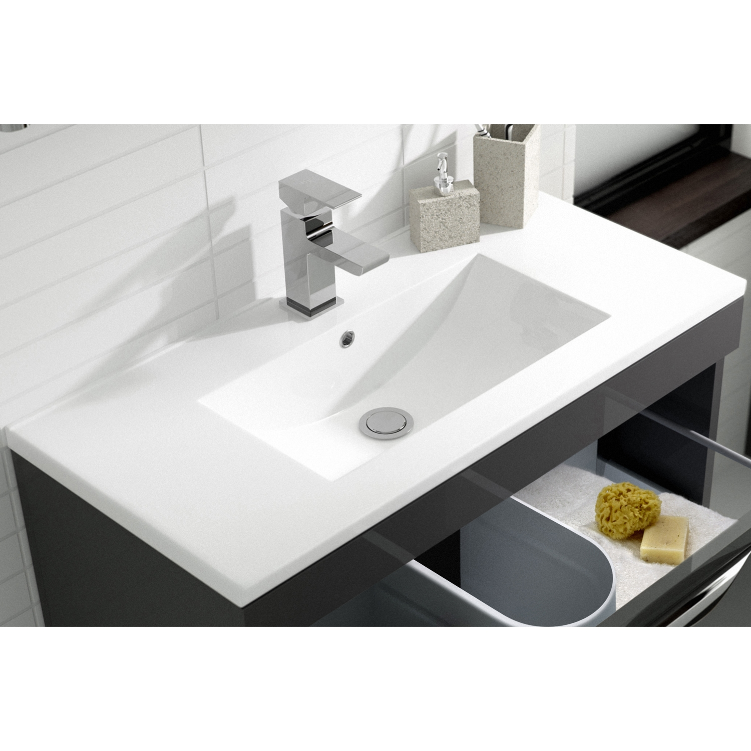 Hudson Reed Memoir Floor Standing Vanity Unit with Minimalist Basin 2 600mm W Gloss Grey 1 Tap Hole