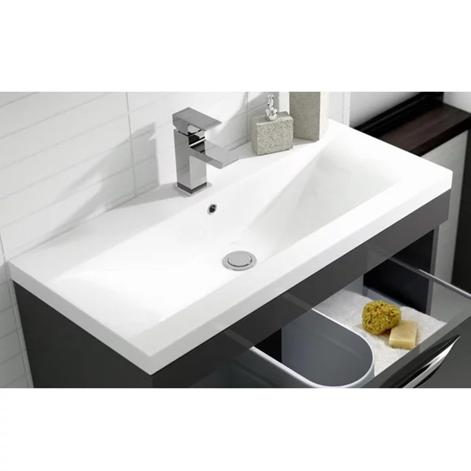 Hudson Reed Memoir Floor Standing Vanity Unit with Mid-Edged Basin 1 600mm W Gloss Grey 1 Tap Hole-0