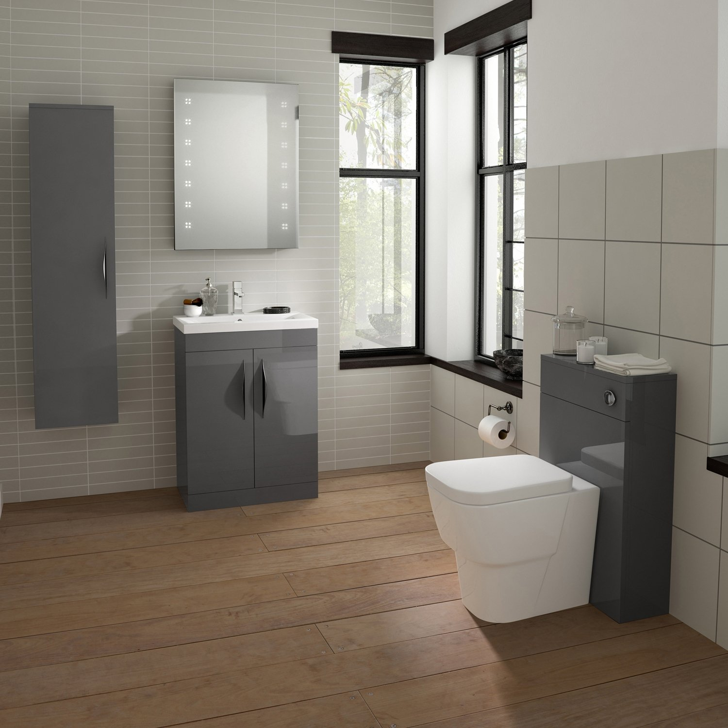 Hudson Reed Memoir Floor Standing Vanity Unit with Mid-Edged Basin 1 600mm W Grey Gloss 1 Tap Hole