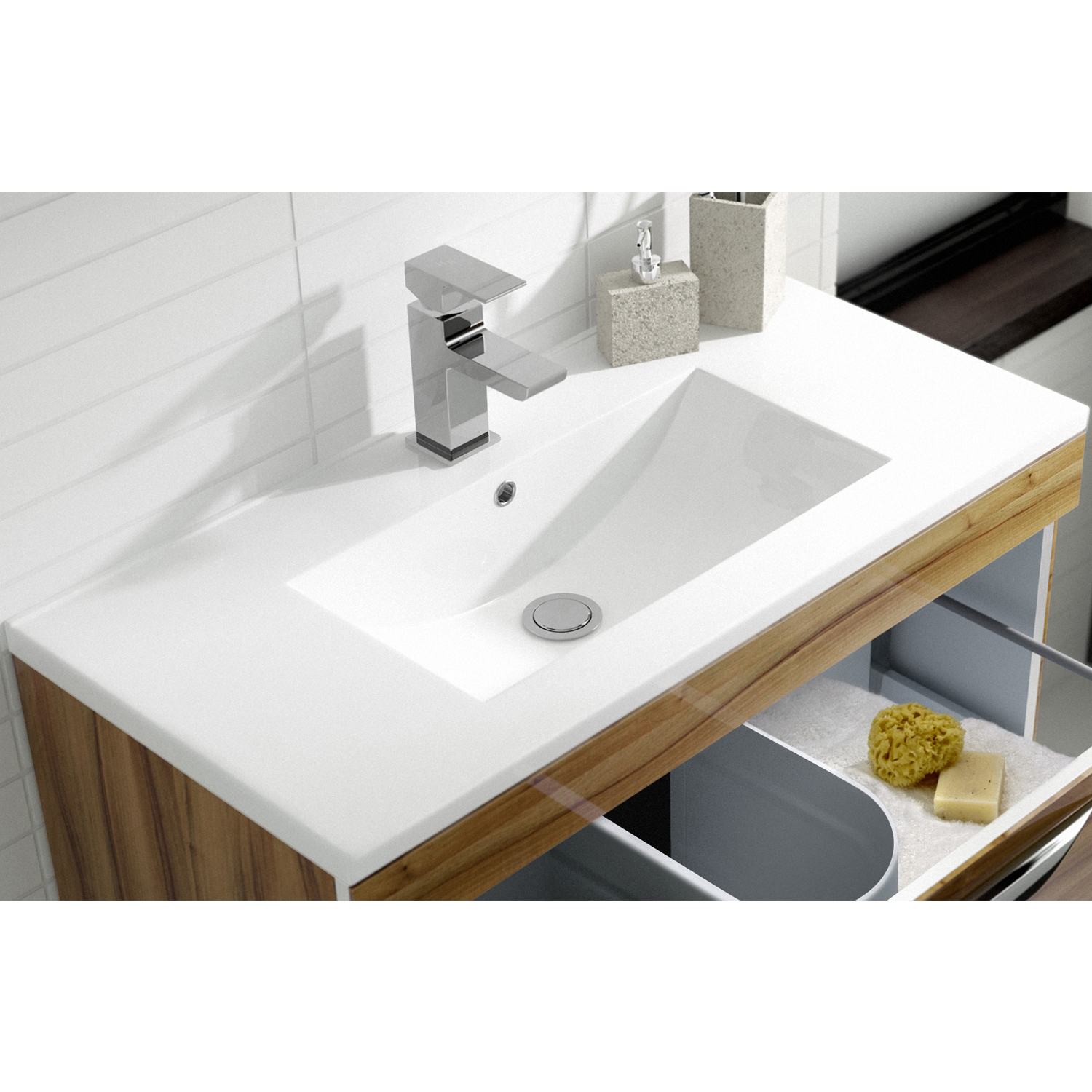Hudson Reed Memoir Floor Mounted 2-Door Bathroom Vanity Unit and Minimalist Basin 600mm W Gloss Walnut 1 Tap Hole