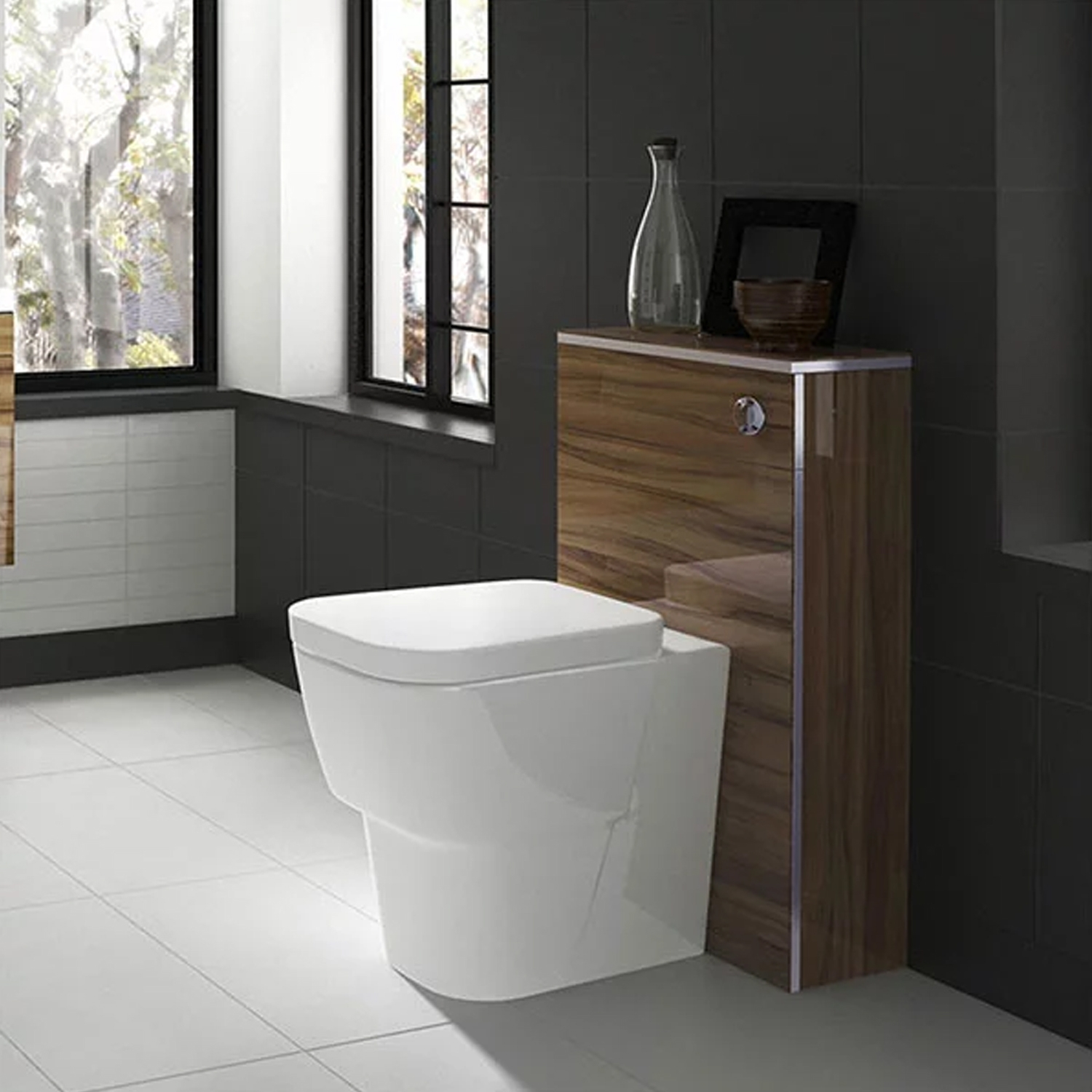 Hudson Reed Memoir Back to Wall WC Toilet Unit 500mm Wide Gloss Walnut-1