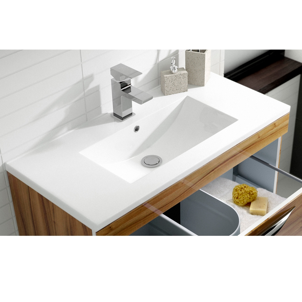 Hudson Reed Memoir Wall Mounted 1-Drawer Bathroom Vanity Unit and Minimalist Basin 605mm Wide Gloss Walnut - 1 Tap Hole