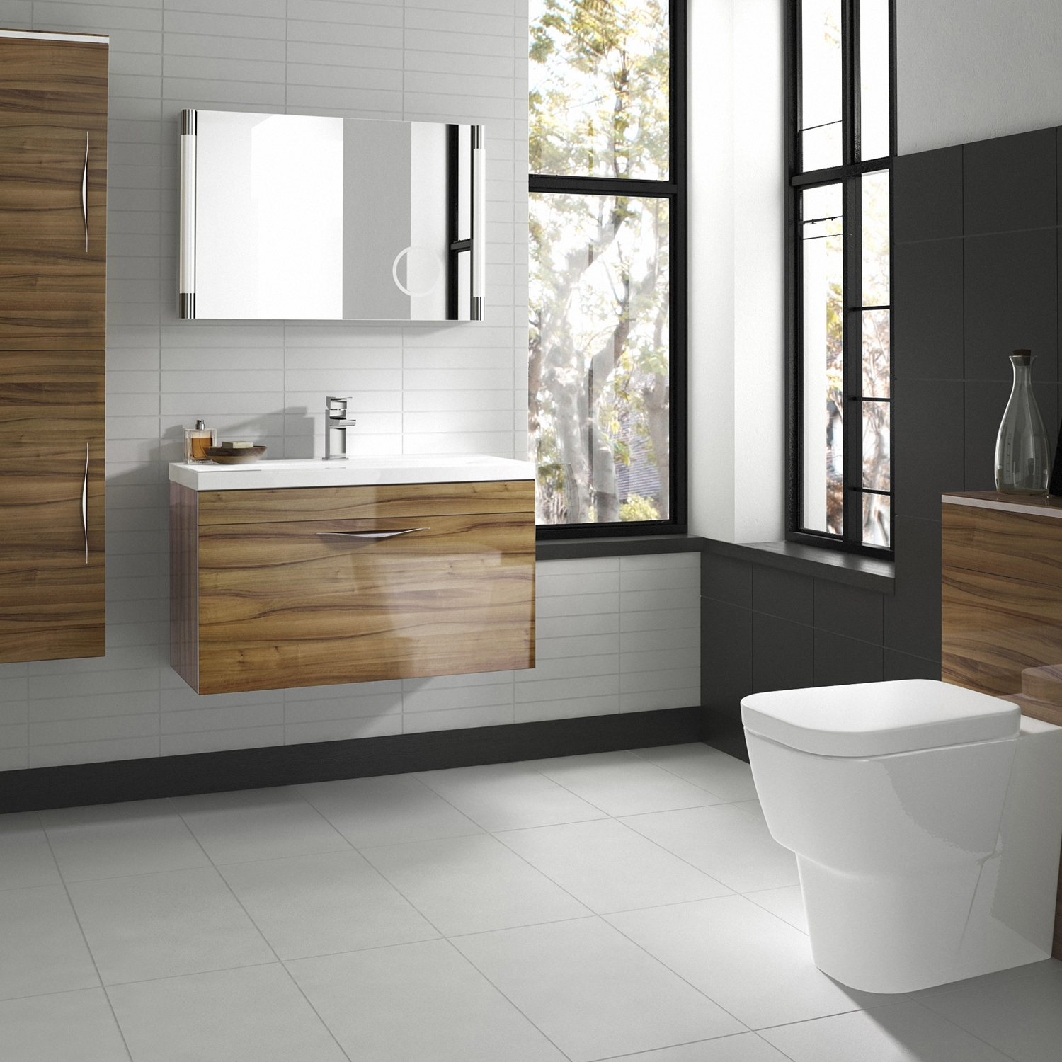 Hudson Reed Memoir Wall Mounted Vanity Unit with Basin 2 Gloss Walnut - 600mm Wide