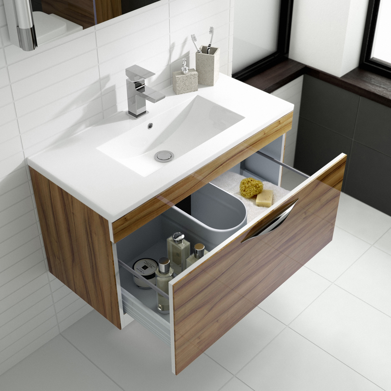 Hudson Reed Memoir Wall Mounted Vanity Unit with Minimalist Basin - 800mm W - Gloss Walnut