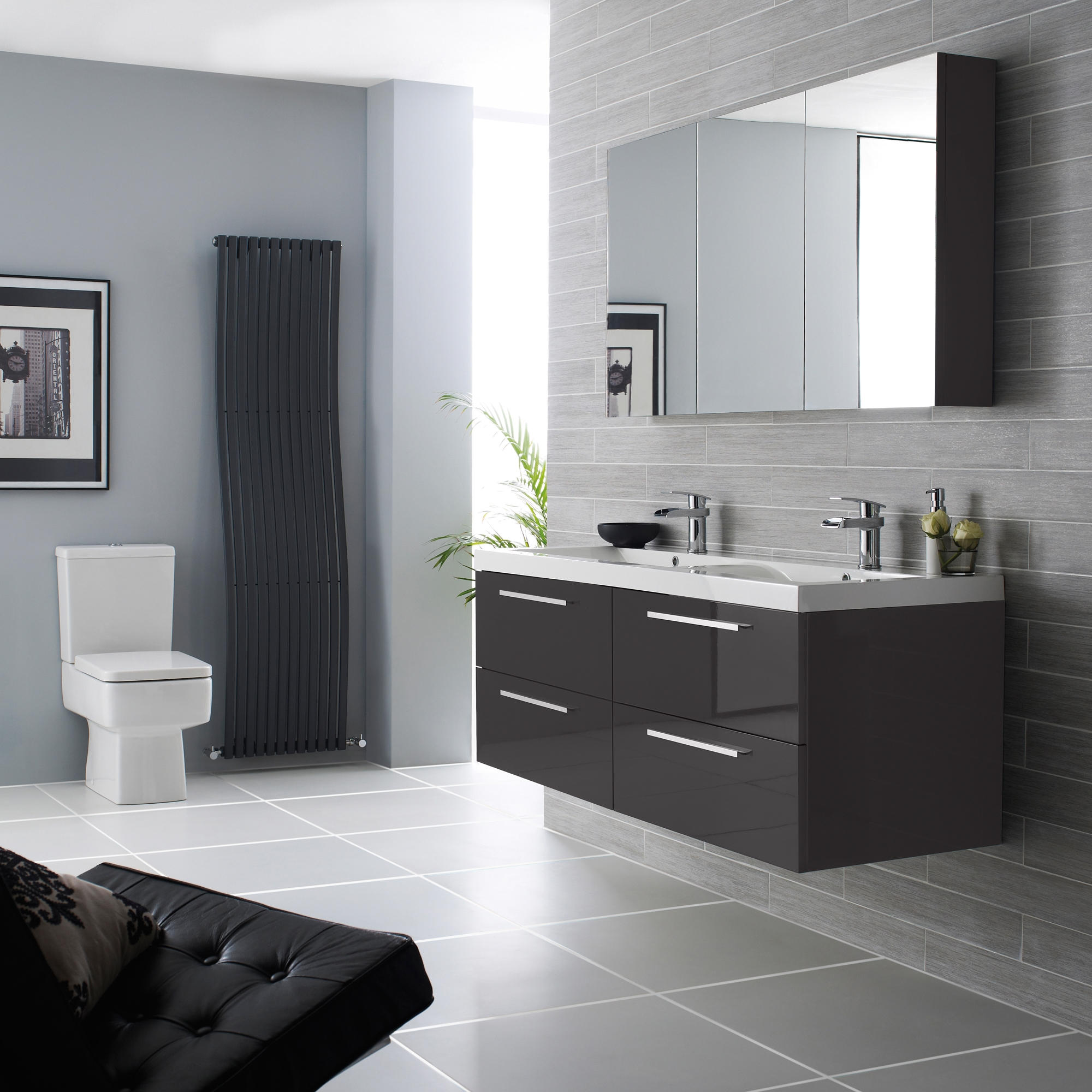 Hudson Reed Quartet Vanity Unit with Basin 720mm Wide Wall Mounted - Gloss Grey