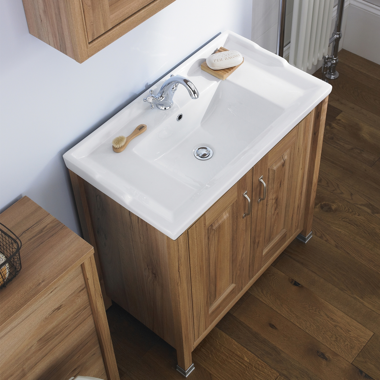 Hudson Reed Bathroom Vanity Unit & Basin 800mm Wide 1 Tap Hole, Natural Walnut