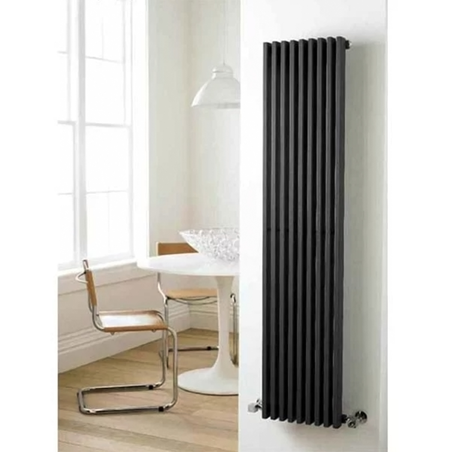 Hudson Reed Parallel Single Designer Vertical Radiator 1800mm H x 342mm W Gloss Black