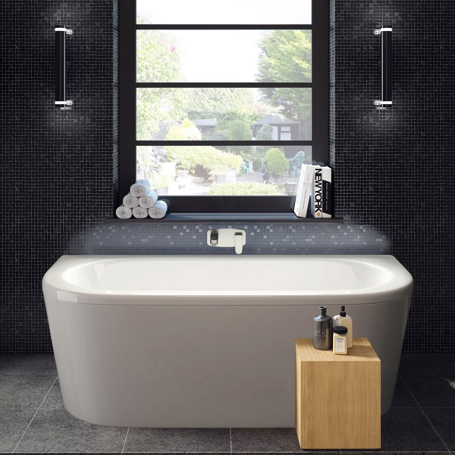 Hudson Reed Pearl Back to Wall Bath and Panel 1700mm x 800mm - White-0