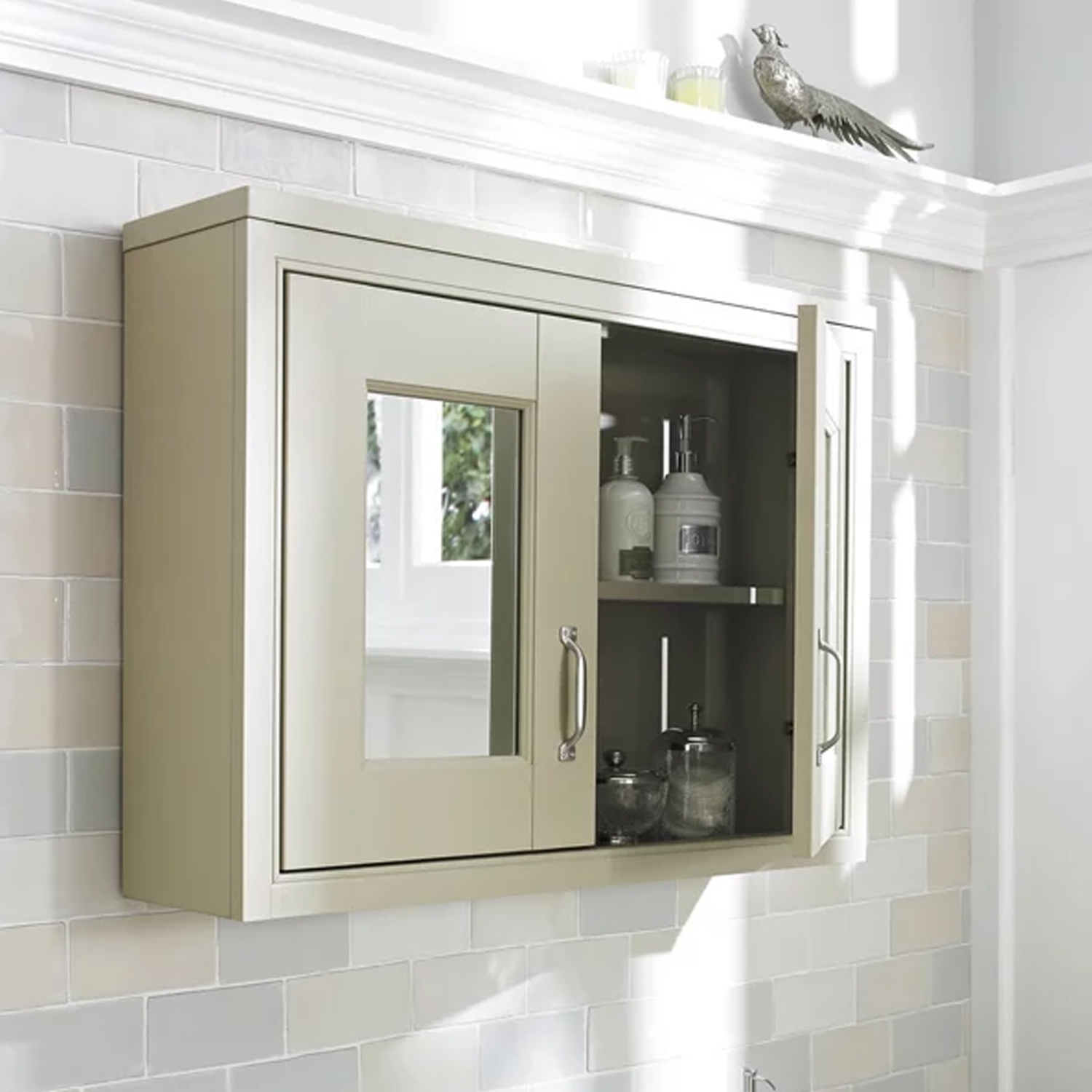 Hudson Reed Mirrored Bathroom Cabinet 800mm W 2 Door Pistachio