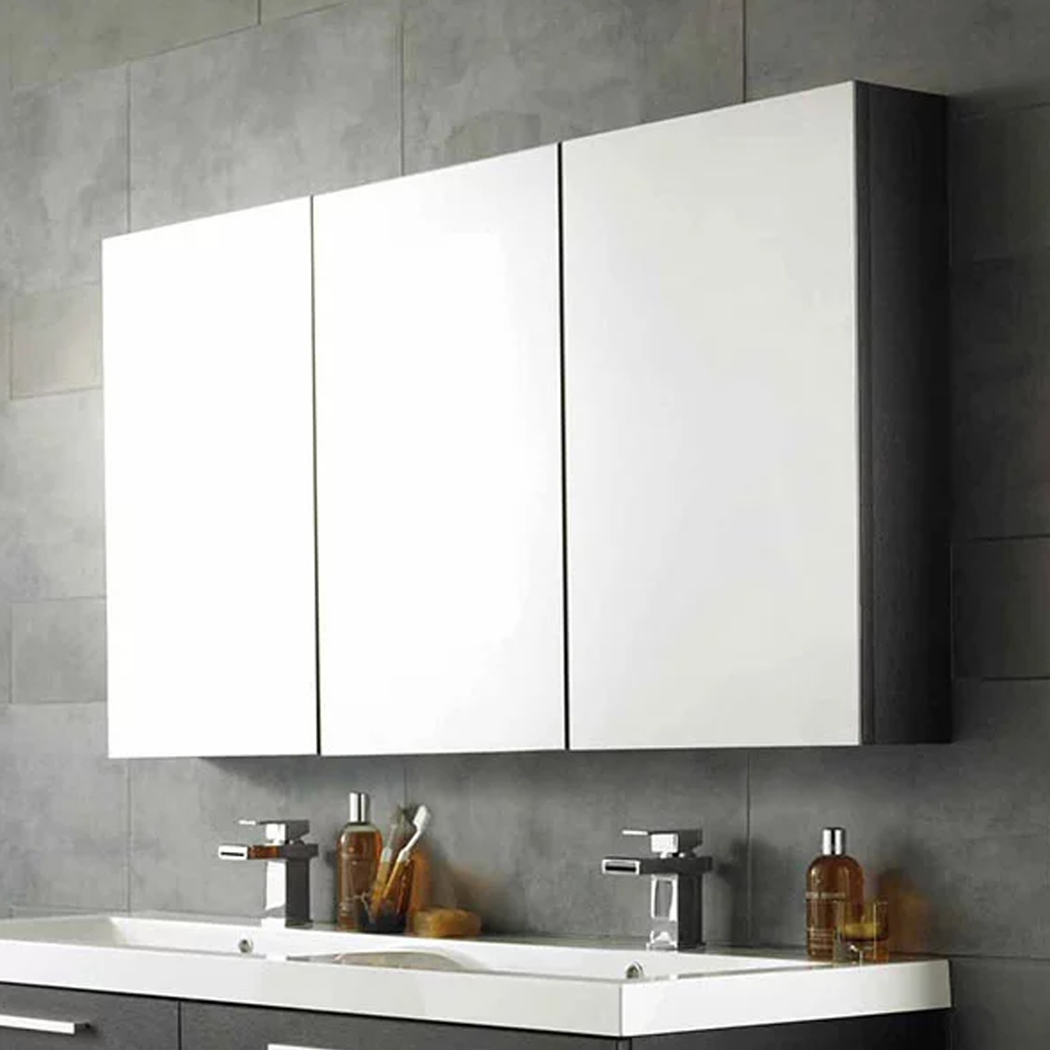 Hudson Reed Quartet Mirrored Cabinet 700mm H x 1350mm W H Grey-1
