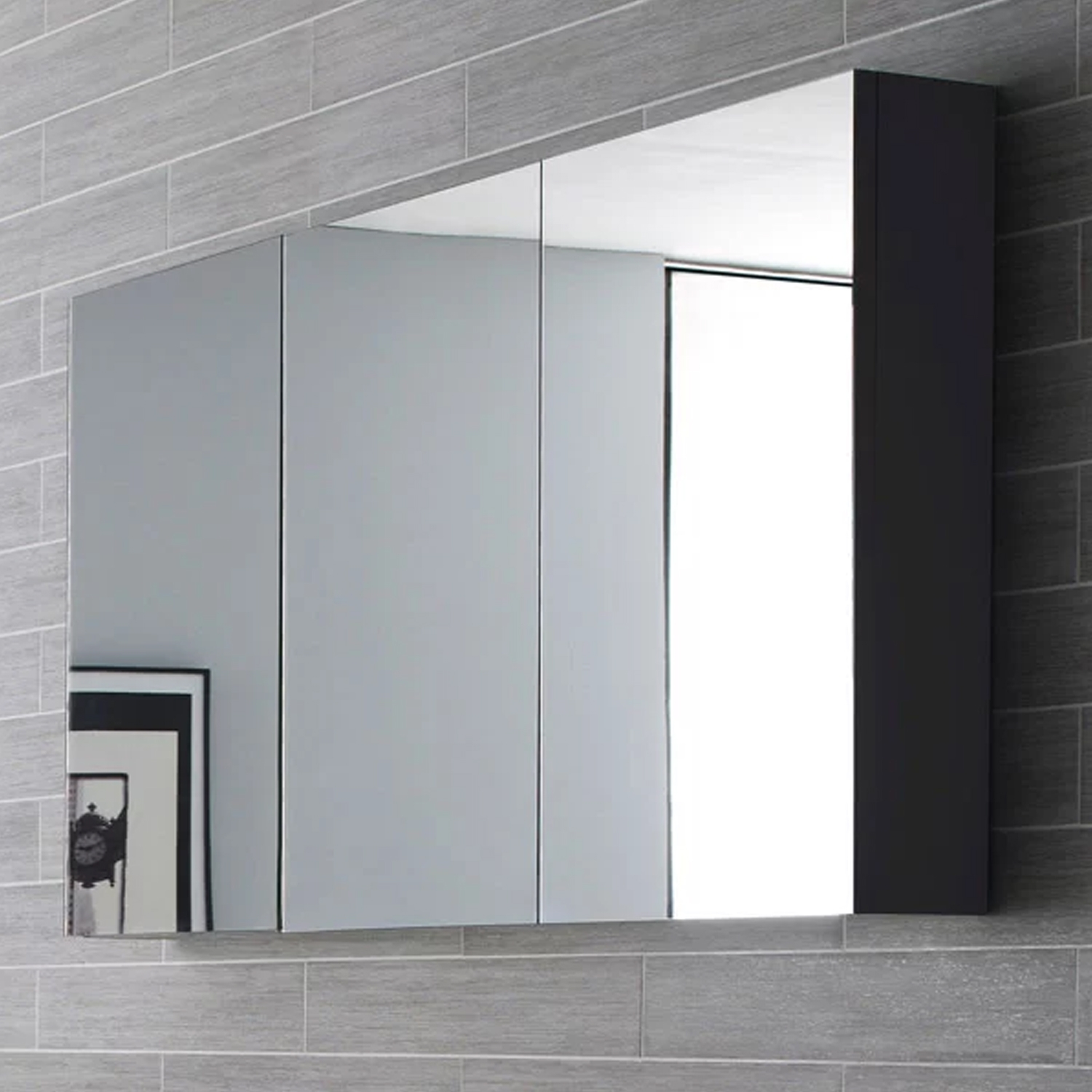 Hudson Reed Quartet Mirrored Cabinet 700mm H x 1350mm W H Grey-2