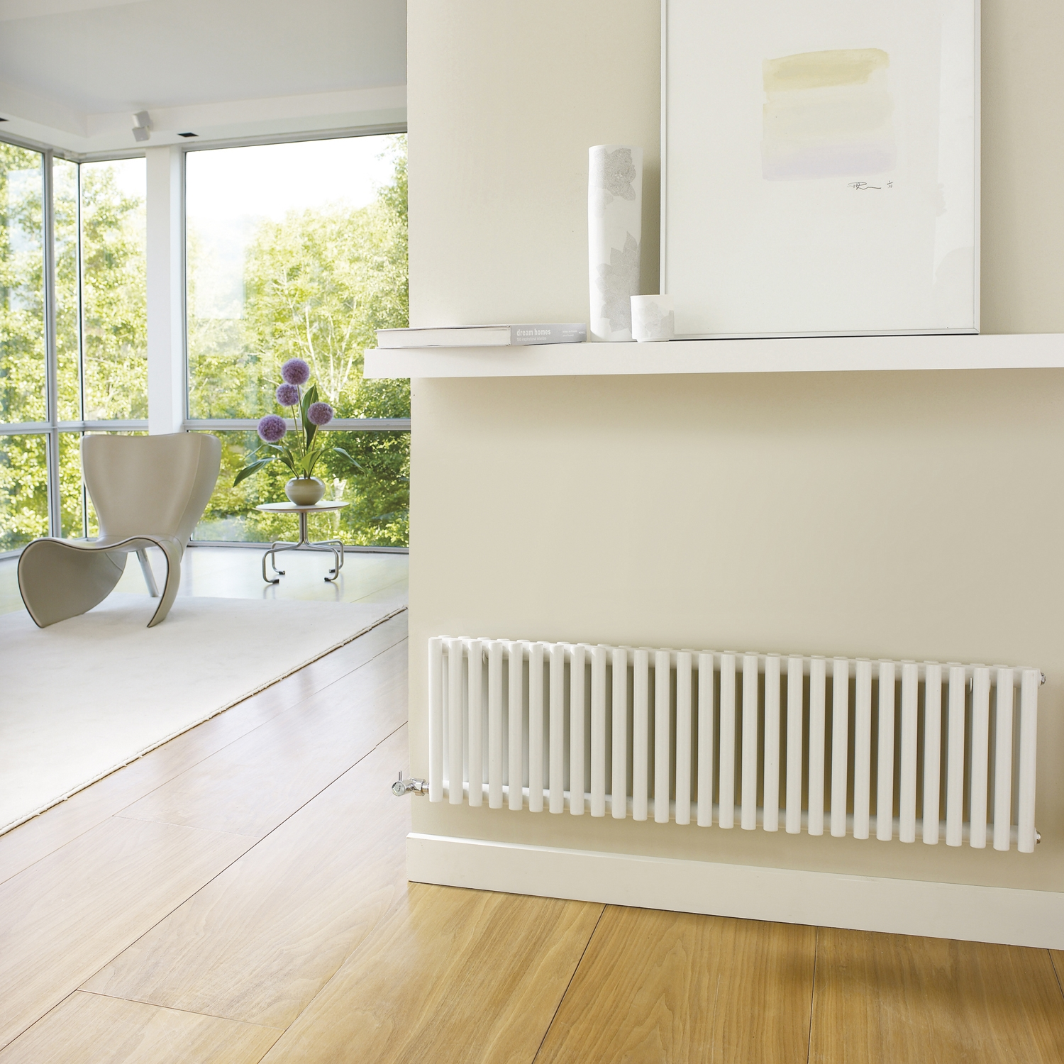 Hudson Reed Refresh Double Designer Horizontal Radiator 300mm H x 1064mm W White-0