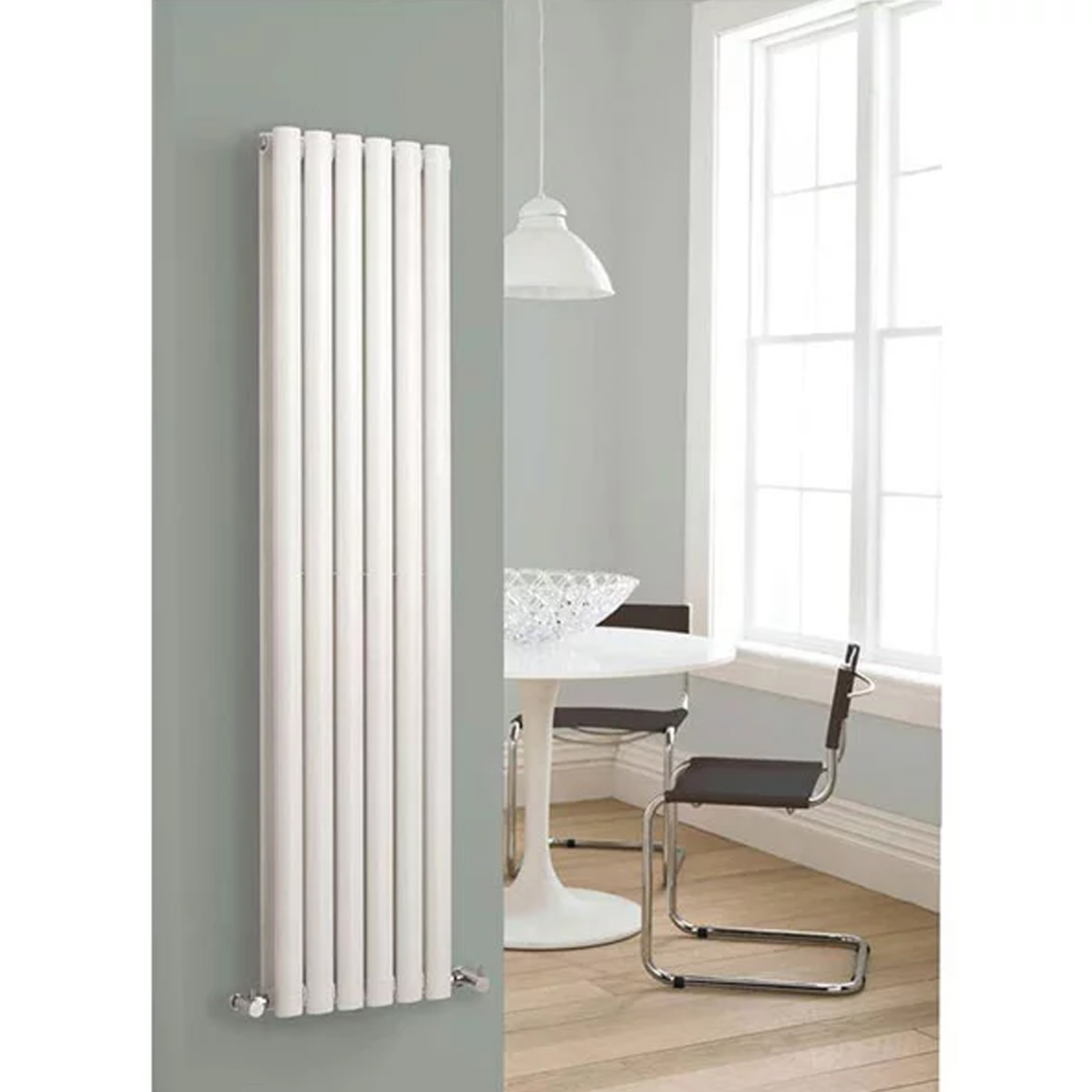 Hudson Reed Revive Double Designer Vertical Radiator 1800mm H x 354mm W White-1