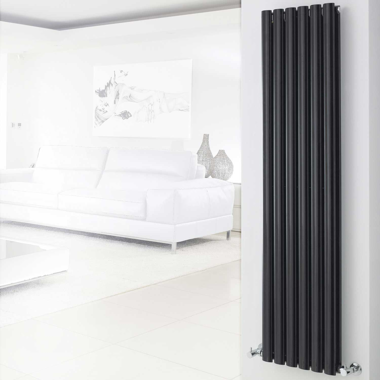 Hudson Reed Revive Double Designer Vertical Radiator 1500mm H x 354mm W Black