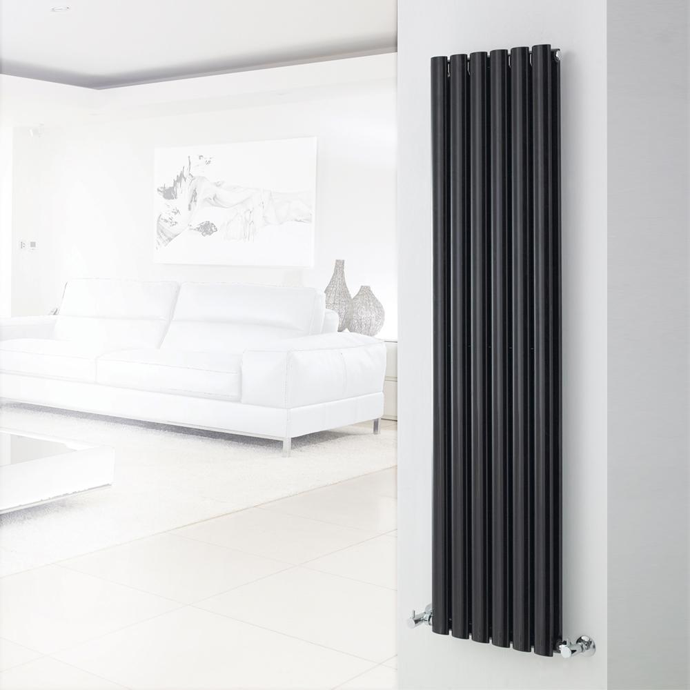 Hudson Reed Revive Double Designer Vertical Radiator 1800mm H x 354mm W Gloss Black