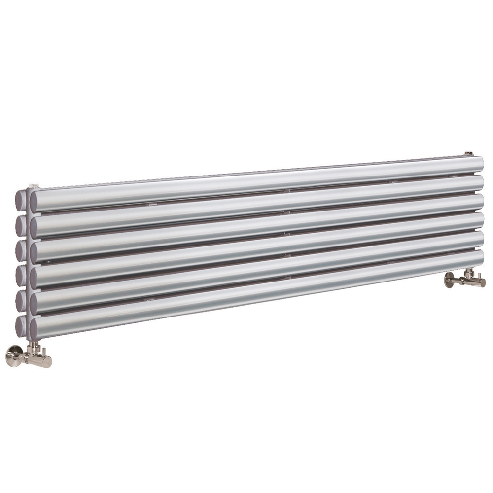Hudson Reed Revive Double Designer Vertical Radiator 1500mm H x 354mm W Gloss Silver