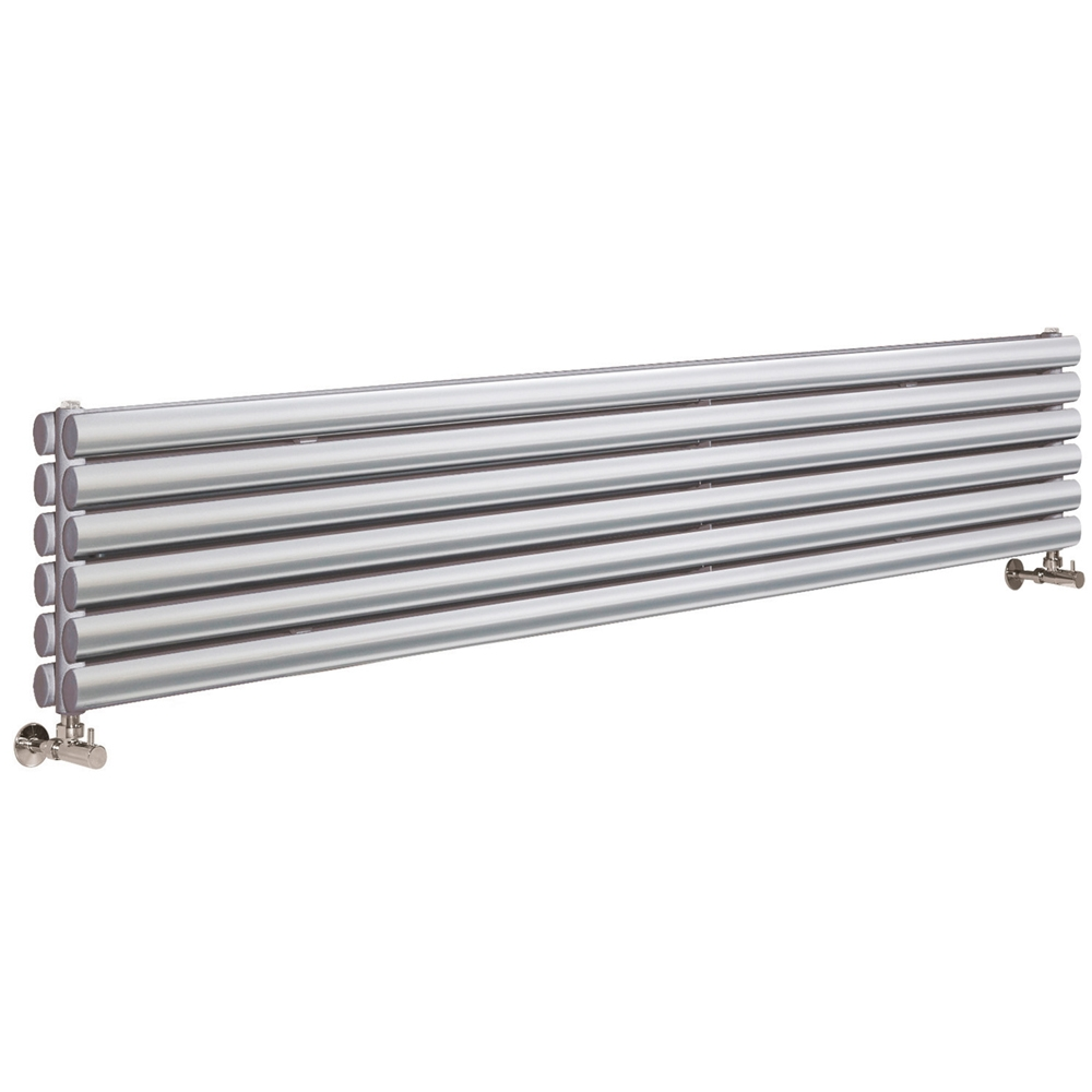 Hudson Reed Revive Double Designer Vertical Radiator 1800mm H x 354mm W Gloss Silver