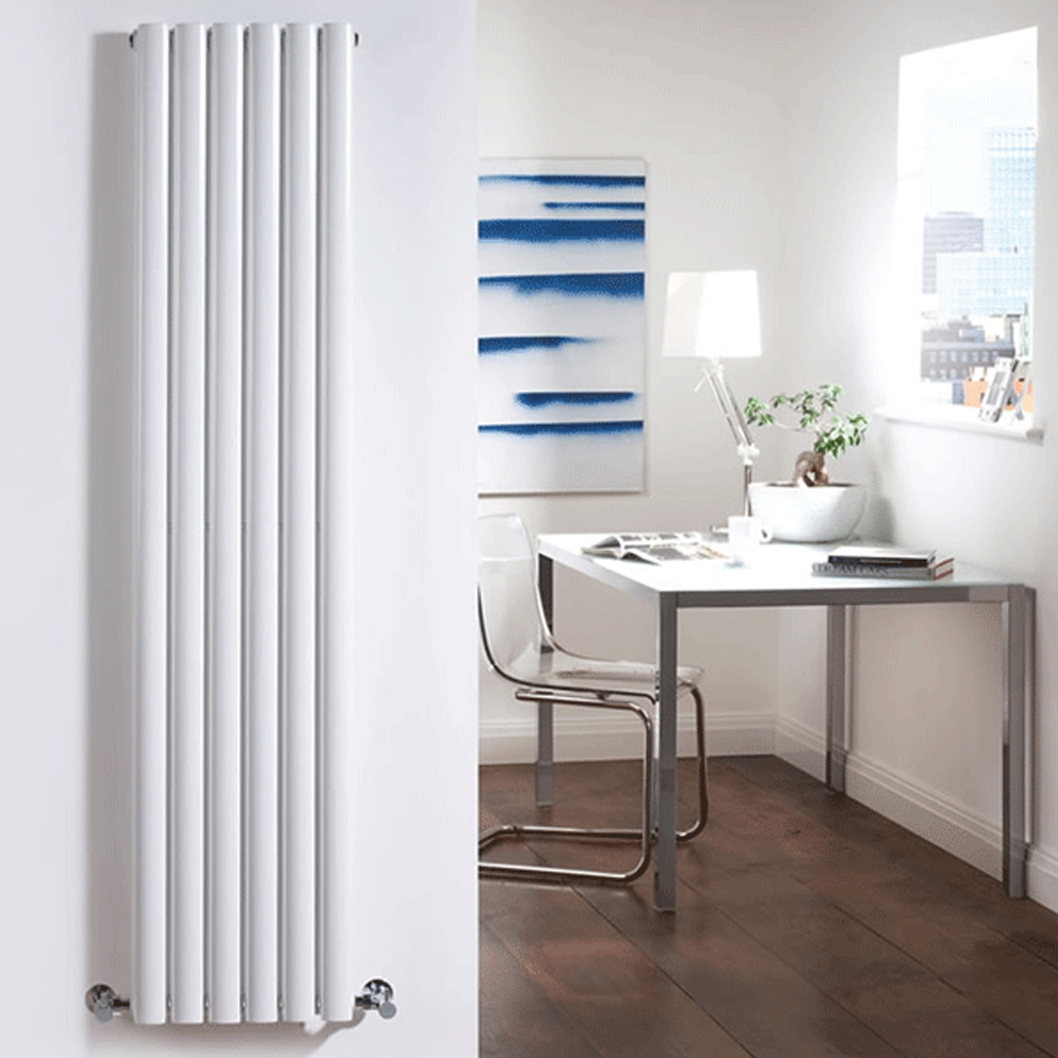 Hudson Reed Revive Single Designer Vertical Radiator 1800mm H x 354mm W White-0