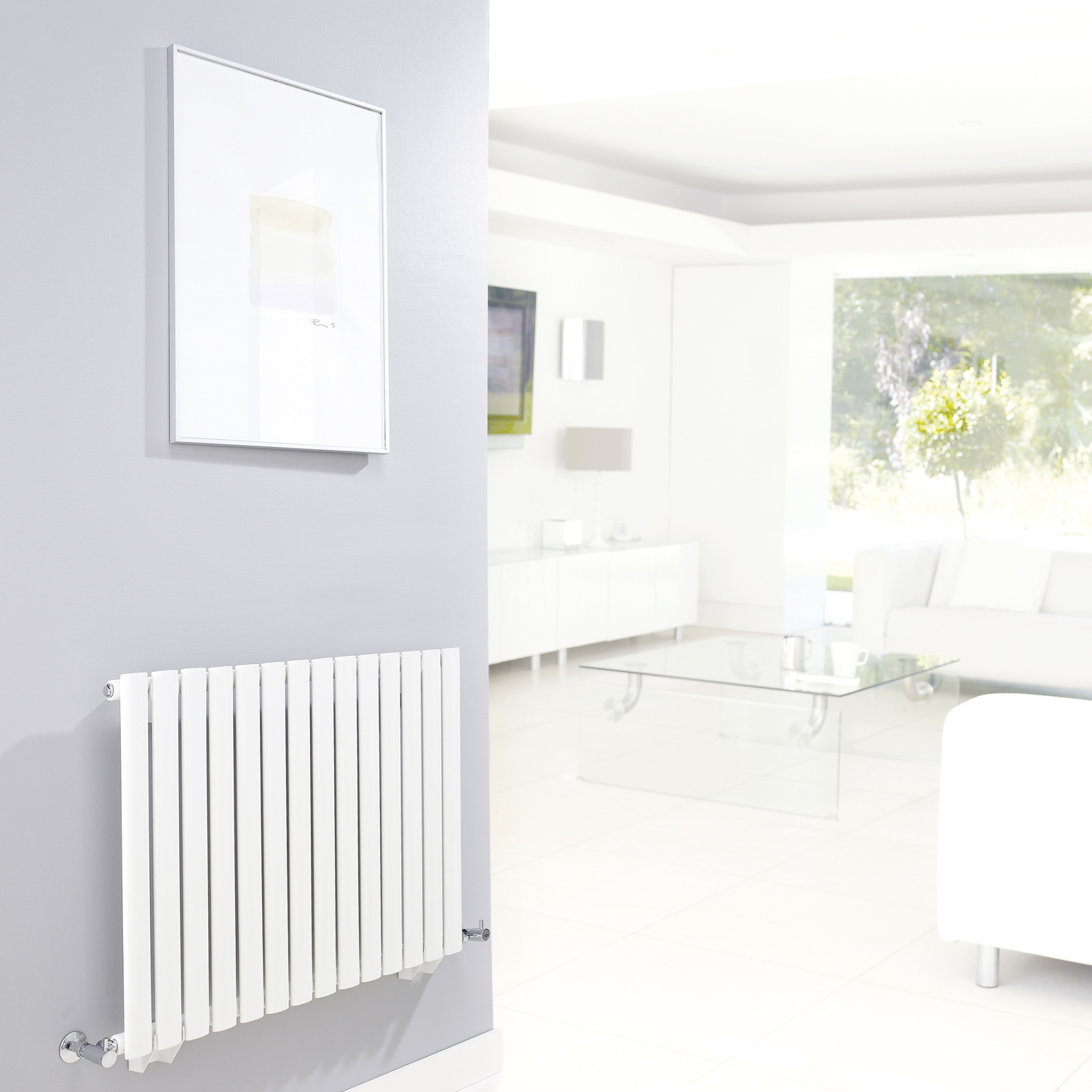 Hudson Reed Revive Small Single Designer Horizontal Radiator 633mm H x 826mm W White